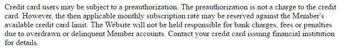 Freelifetime milfaffair credit card preauthorization