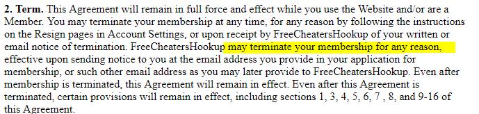 Free Cheaters Hookup membership termination