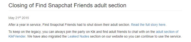 Kik Friender no snapchat section