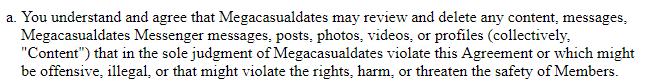 mega casual dates content control