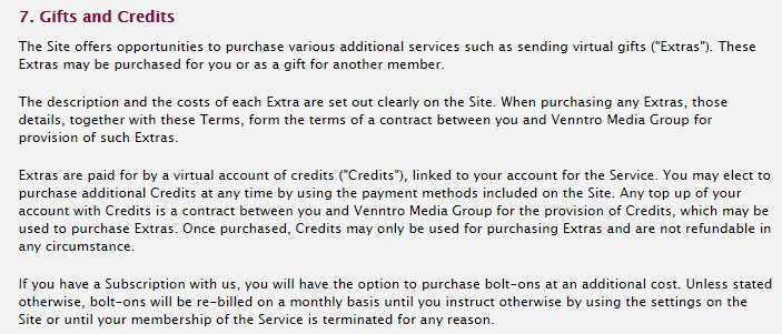 gifts and credits terms
