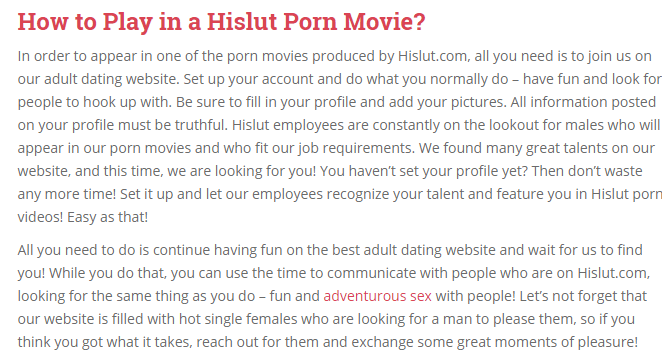 It seems that HiSlut.com is just a link platform for discovering young  talent and taking the people to the Nautell product Quick Sex Match.