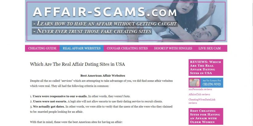 Affair-Scams.com review home page