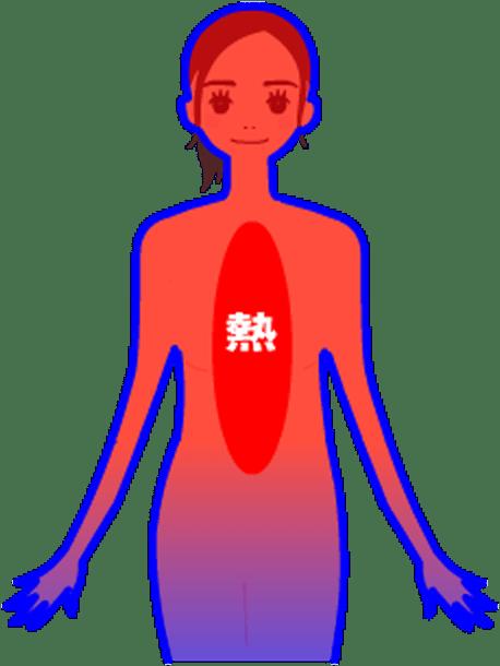 体の表面、肌の周囲に温かい血液が循環していない状態