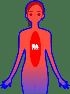 体の中心に血液が集まりすぎると体表の血液が少なくなって肌の働きが低下する