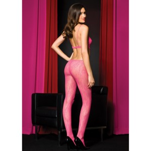 Music Legs Seamless Lace Cutout Sides Body Stocking Pink