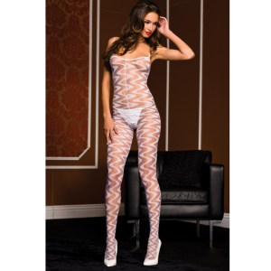 Music Legs Sheer Wavy Designed Body Stocking with Open Crotch