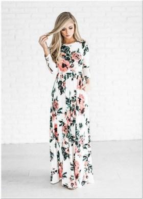 dress panjang motif bunga kecil