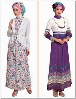 gamis batik kombinasi brokat modern