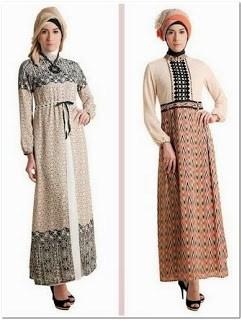 Dress batik kombinasi brokat lengan panjang
