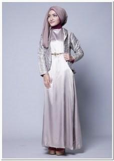 Baju gamis batik kombinasi kain polos