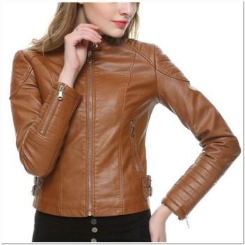 Gambar Jaket kulit wanita coklat