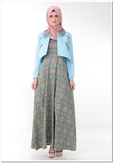 Model gamis batik kombinasi blazer polos