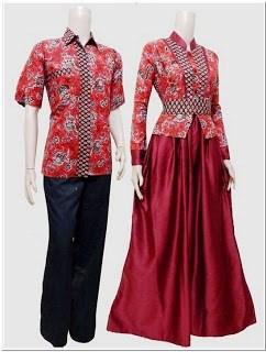 Model baju gamis batik kombinasi blazer