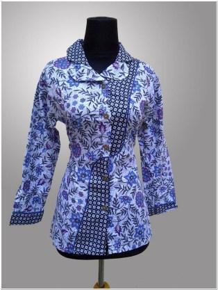 Model baju batik kerja atasan wanita kantor