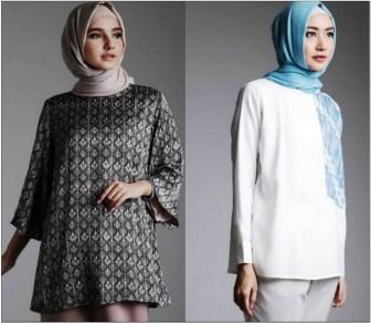 Contoh Model baju kerja batik formal wanita berjilbab