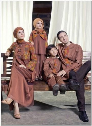 Model baju lebaran untuk keluarga warna coklat terbaru