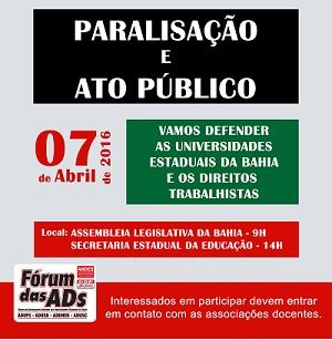 Dia 7 de Abril| Paralisação e ato público