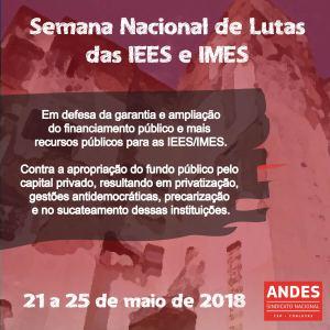 Em todo país, IEES e IMES  seguem o calendário de lutas do ANDES-SN.