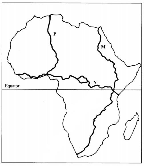 map of Africa in Geography 2015 paper 2
