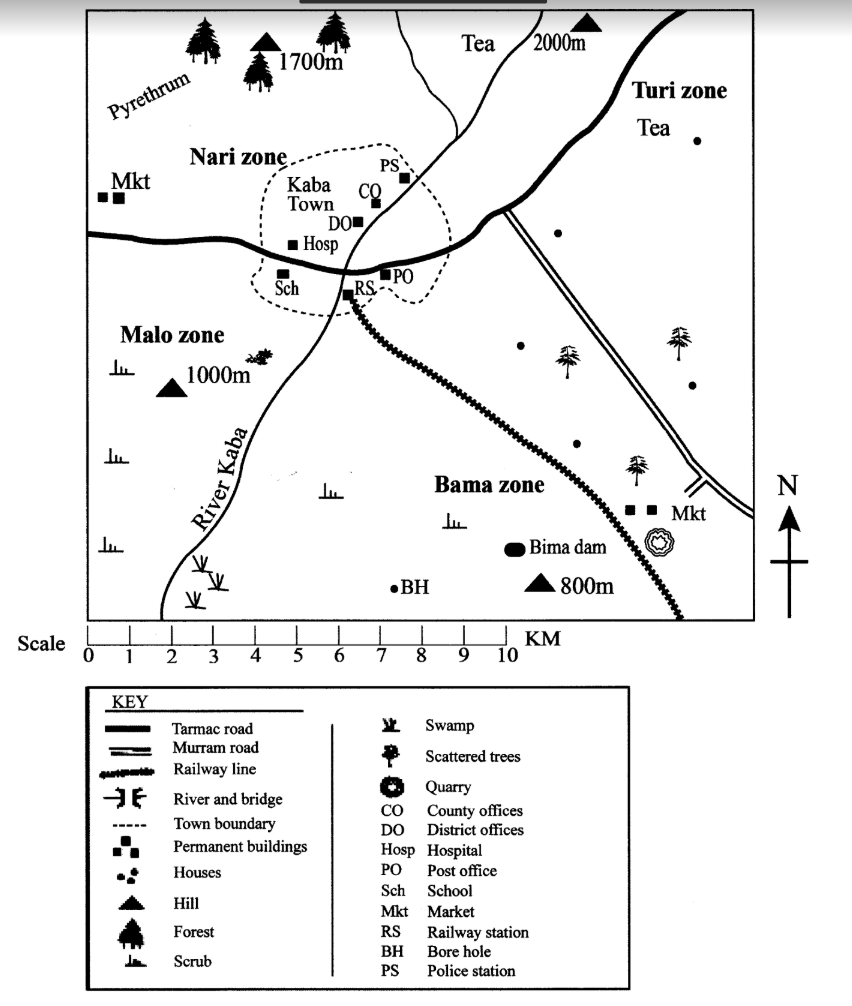 medium resolution of study the map of kaba area provided and answer questions 1 7