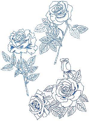 rose bluework set