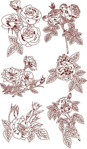 rose redwork set ii