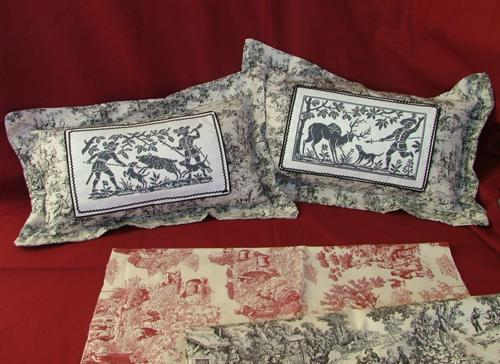Toile Pillows with Hunting Scenes  Advanced Embroidery