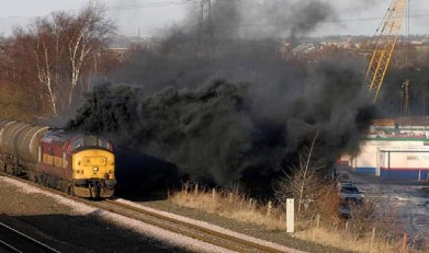 unusually bad emissions from a diesel locomotive