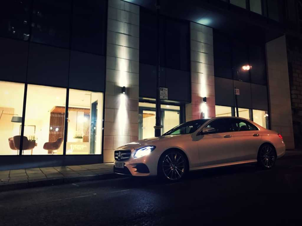 Mercedes-Benz-E-Class-Chauffeur-Hire-City-Pickup-Front