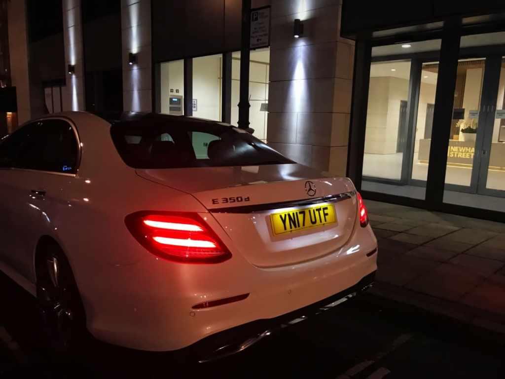 Mercedes-Benz-E-Class-Chauffeur-Hire-City-Pickup-Rear