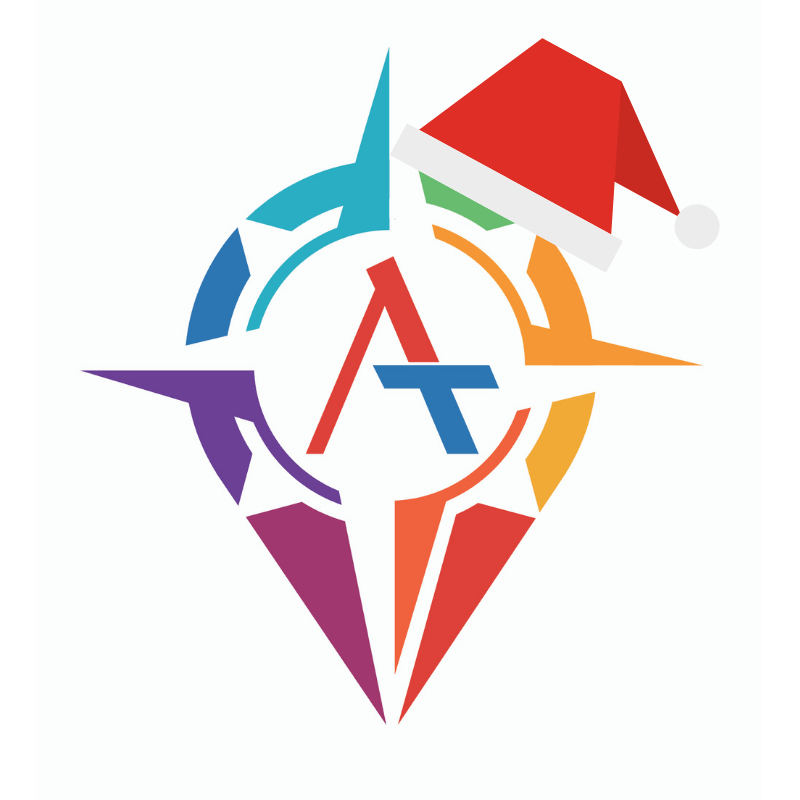 Advanced Travel Logo with Christmas Hat