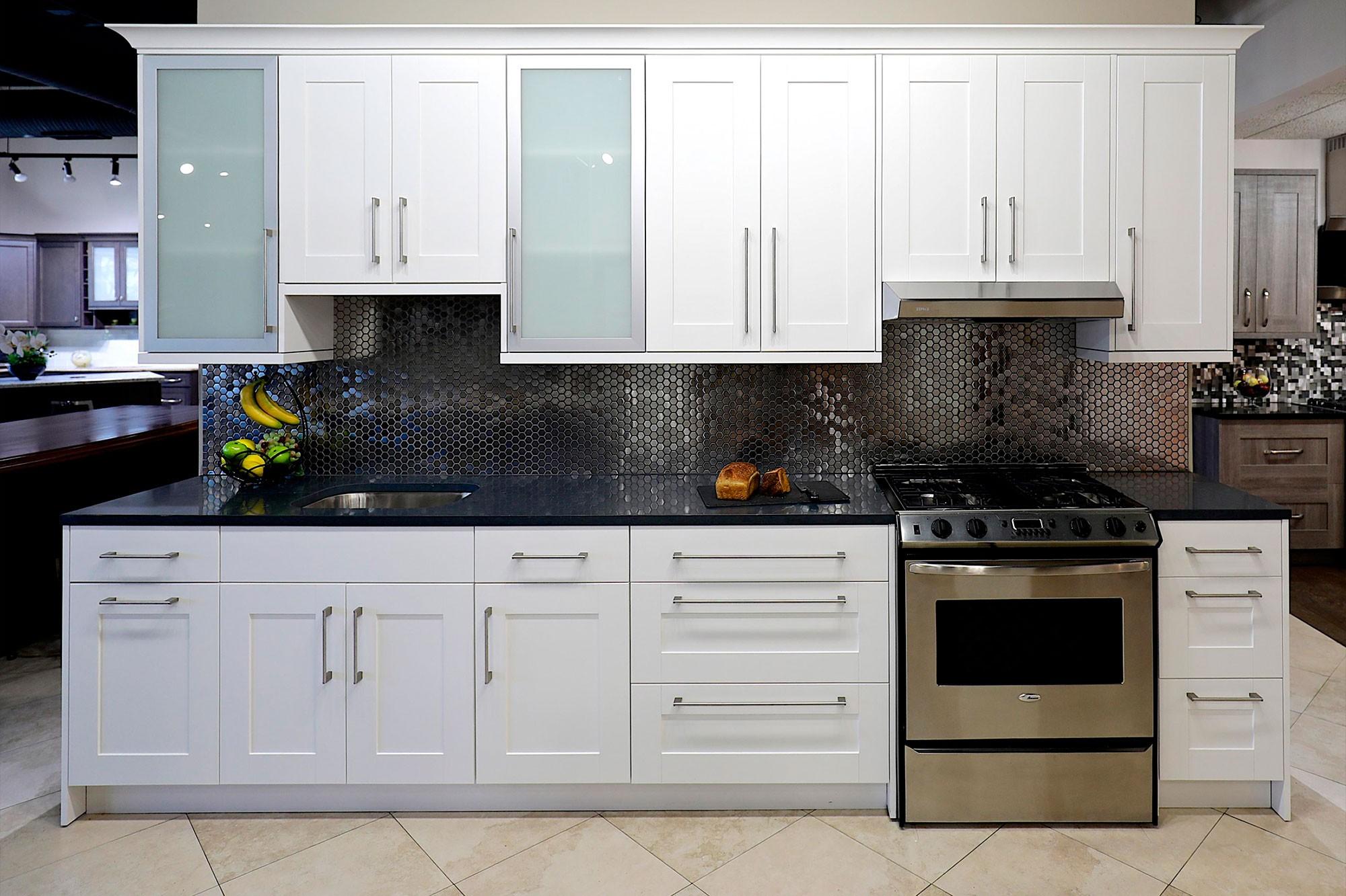 shaker kitchen cabinets white sink undermount bianca bath bathroom stock showroom