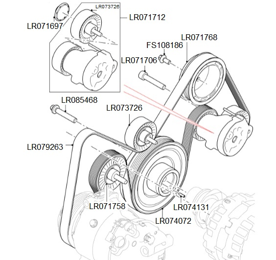 2.0 I4D Auxiliary Drive Belt & Tensioner