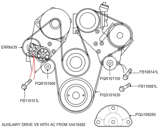 AUXILIARY DRIVE WITH AC FROM XA410482 RANGE ROVER 4.0 & 4.6