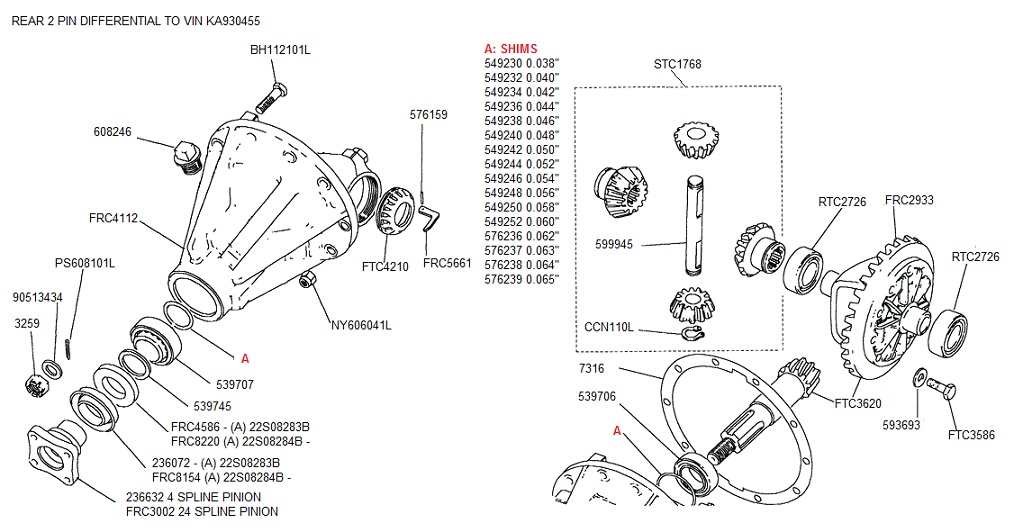 REAR 2 PIN DIFFERENTIAL TO VIN KA930455