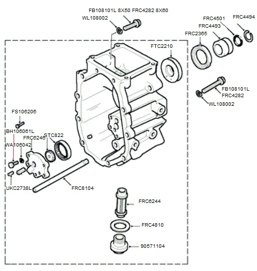 LT77 TRANSMISSION EXTENSION CASE AND OIL PUMP (TO SUFFIX F)