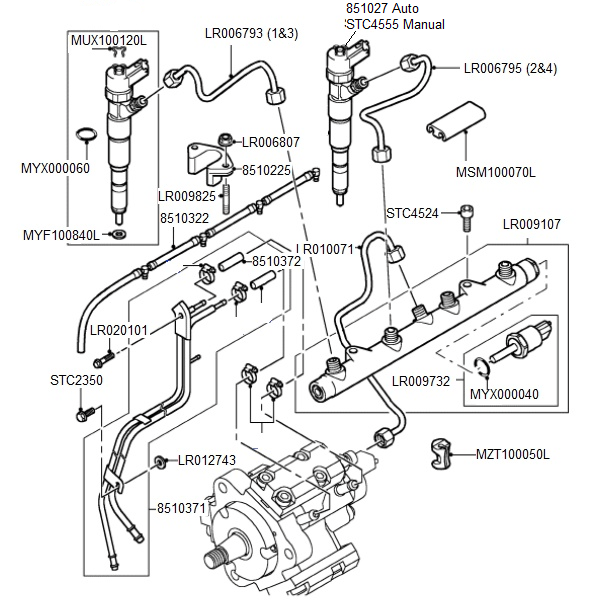 Td4 Fuel Injectors & Pipes