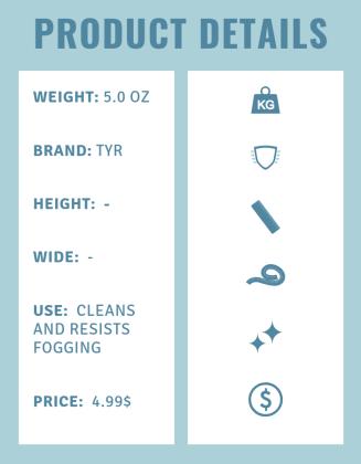 Product details anti-fog spray TYR