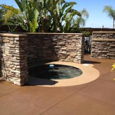 Kevin Brown KB Concrete Staining Richards Pool Deck Project Products: Milk Chocolate SmartColor Cowboy Dust SmartColor (bands)