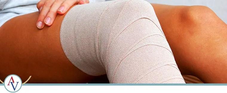 patient's leg with bandage