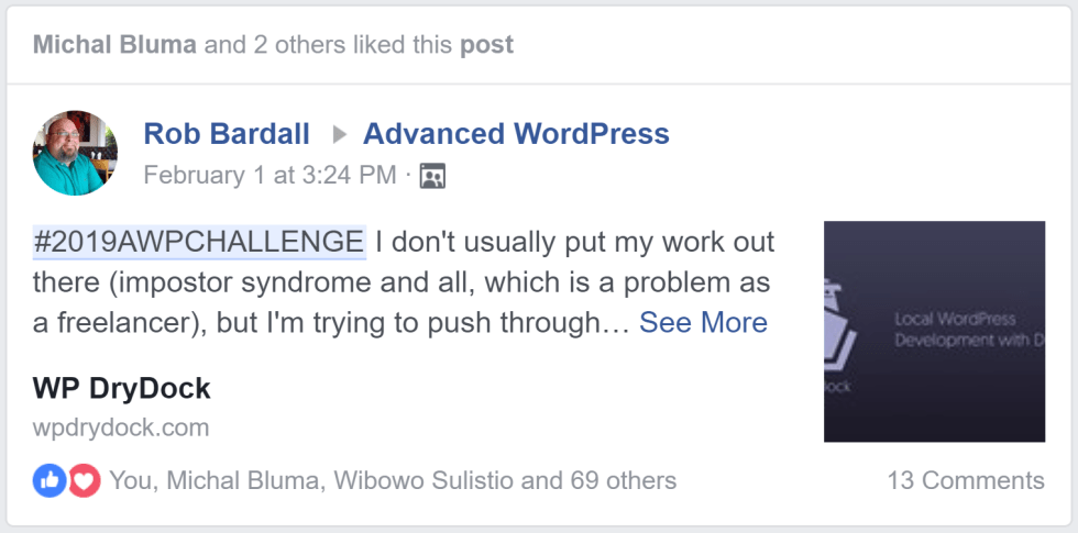 A snippet preview of Rob Bardall's post in the Advanced WordPress Facebook group
