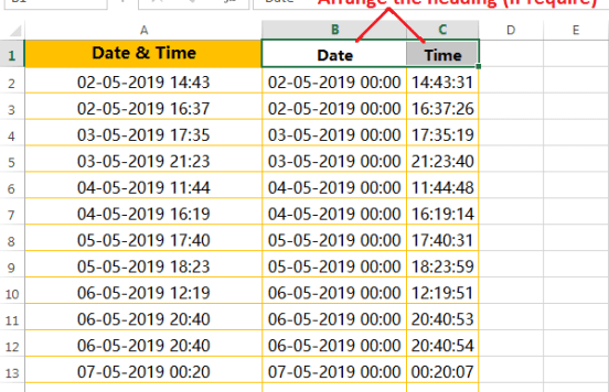 Text to column (Split Date and Time having delimiter space)-5