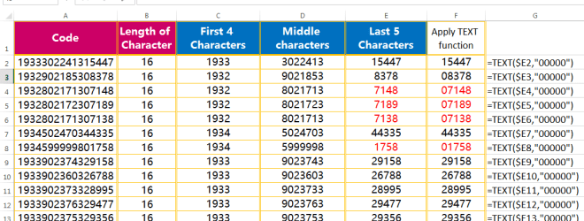 Text to Columns (Add zero value before any number by TEXT function)