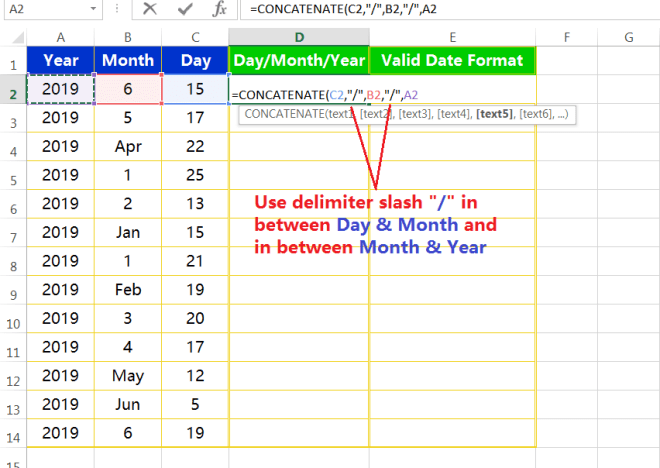 Text to column(Join days, months and years to form valid date formats)-2