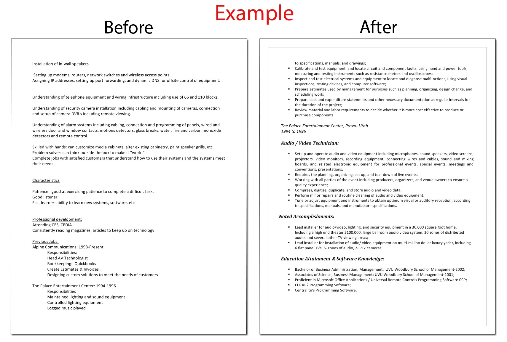 before and after resume samples of consultancy
