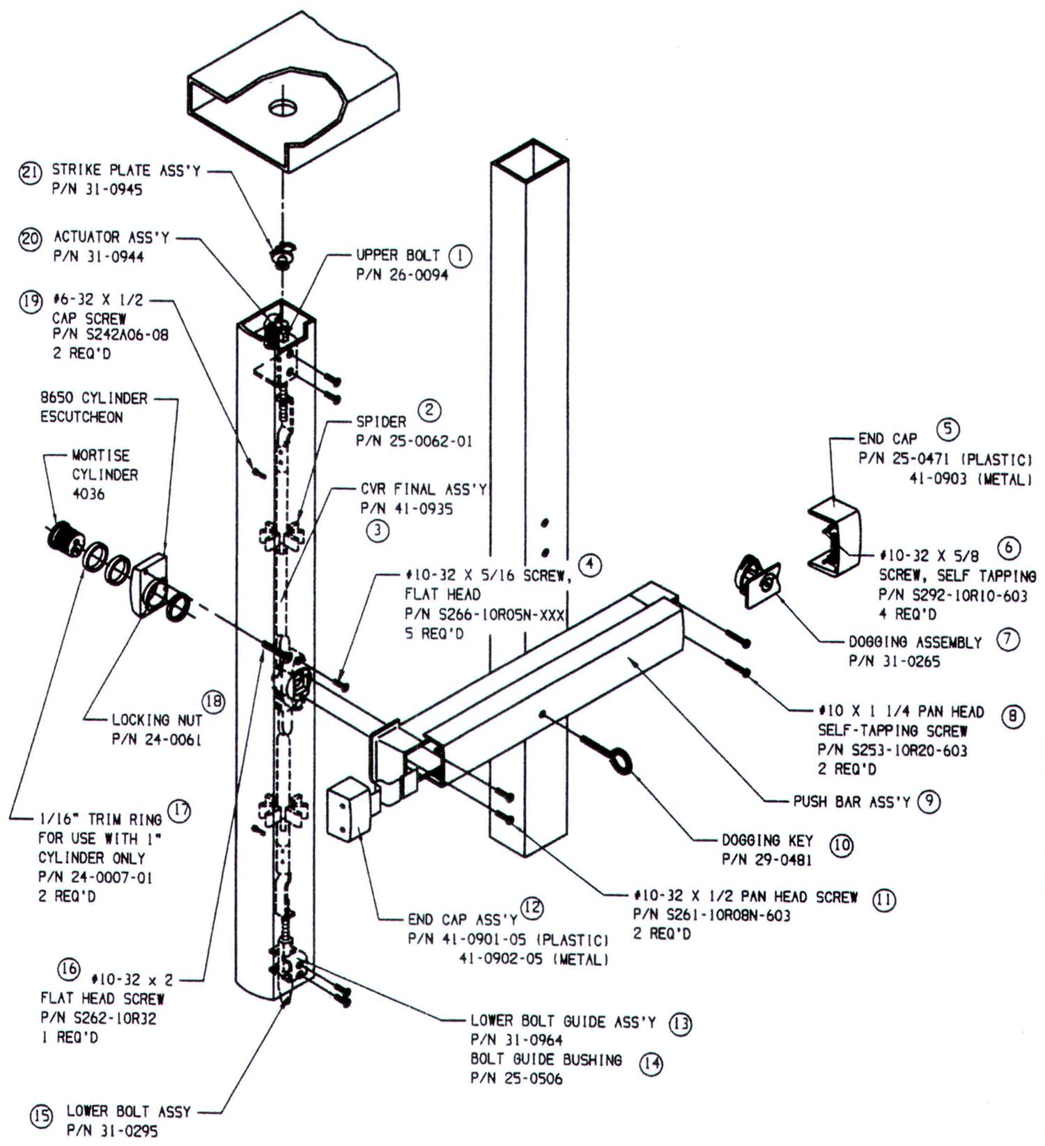Sargent Mortise Parts