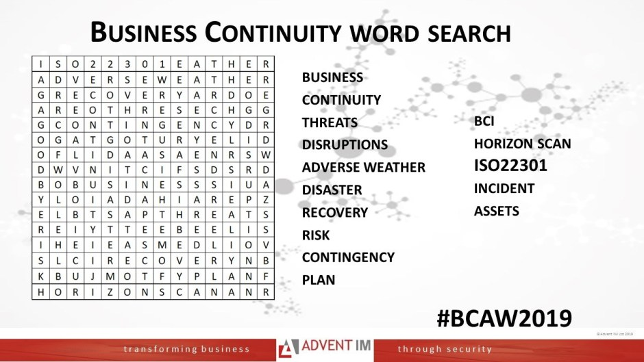 #BCAW2019 word search from Advent IM consultancy, testing and training