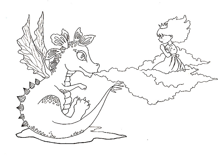 Dragon and Princess Free Printable Card + Colouring Page