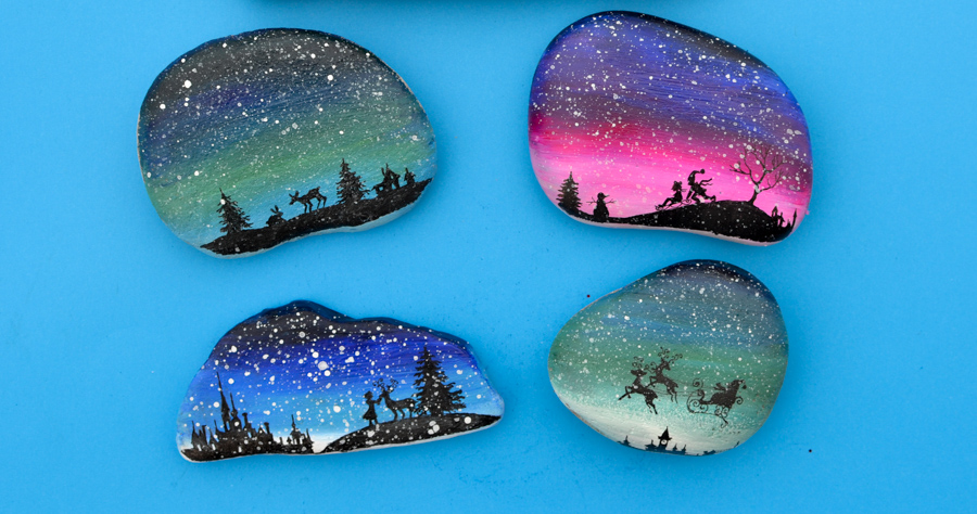 Christmas Silhouette Painted Rocks With Printable Designs Adventure In A Box